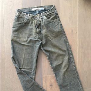 Fossil Men's Green Faded Unique Jeans